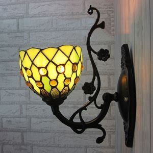 Up or Down 5 Inch Mini Wall Sconce in Tiffany Green Stained Glass Style