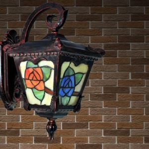 Country Style Lantern Shape Tiffany Wall Sconce with Red Rose
