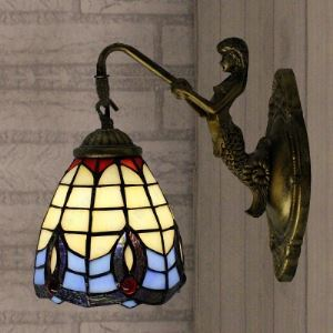 Bronze Mermaid Base Tiffany Style Baroque Design 5 Inch Wall Sconce