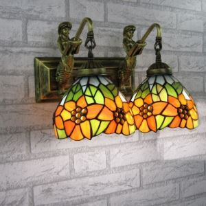 Mermaid Armed Sun Flower Décor Two-light Tiffany Table Lamp