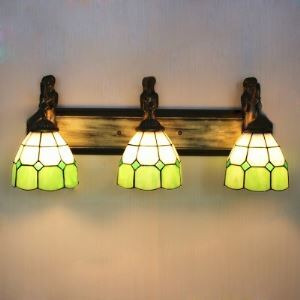 Green Mission Pattern 24 Inch Bathroom Fixture in Tiffany Stained Glass Style