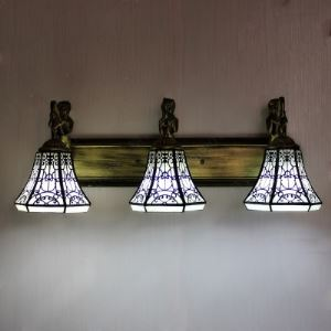 Lodge Style 3 Lighted Downlight Bell Shape Tiffany Wall Lamp