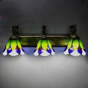 Tiffany Stained Glass 3 Lights Wall Lamp Highlights Ladybug Motif