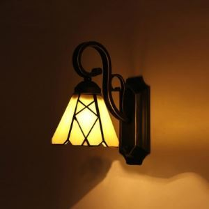 Black Finished Cone Shade Stained Glass Tiffany Downlight Wall Sconce