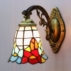 Bronze Fittings Mini 6 Inch Bell Shade Stained Glass Tiffany Wall Light