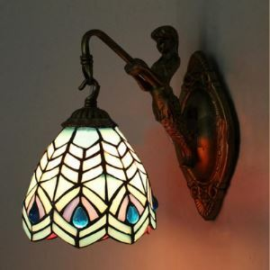 Country Style 8 Inch Wide Tiffany Wall Sconce with Mermaid Bronze Base