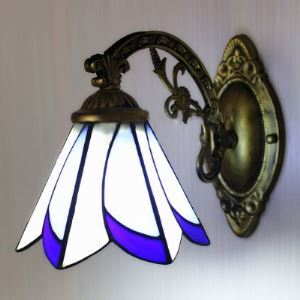 7 Inches Wide by 9 Inches High Pull Chain Bell Shade Tiffany Wall Lamp