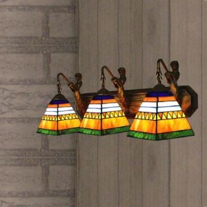 Mermaid Cone Shade 3-Lighted Stained Glass Tiffany Wall Sconce For Bathroom Lighting