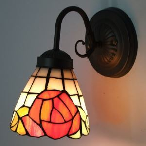 Single Light Black Finished Tiffany Sconce with Red Rose