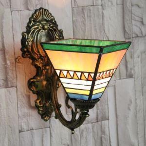 Green Trim Mission Style Uplight Tiffany Mini Wall Lamp