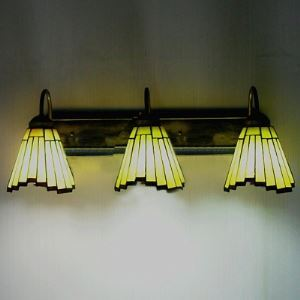 3 Lights Uplight Irregular Bar Motif Tiffany Wall Lamp