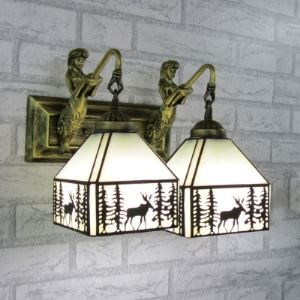 12 Inch Mermaid Armed Stained Glass Tiffany 2-light Wall Sconce