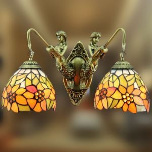Two-light 17 Inch Sunflower Theme Mermaid Tiffany Wall Sconce