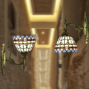Single Light Torch Holder Mini Wall Lamp in Tiffany Style