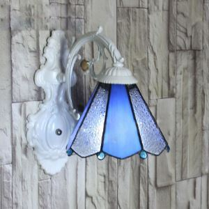 Blue Art Glass Umbrella Shade Tiffany Wall Lamp Highlights Crystals