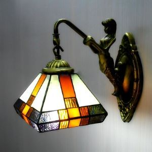 Single Light Mermaid Armed Stained Glass Tiffany Wall Sconce