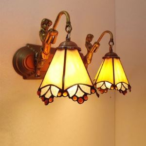 Two-light White Stained Glass Mermaid Bronze Base Downlight Tiffany Bathroom Lighting