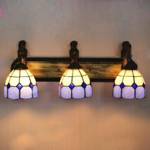Stained Glass Mermaid Base Blue Pattern 24 Inch Bathroom Sconce