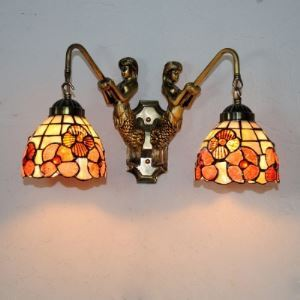 Two Mermaid Armed Shell Glass Tiffany Bathroom Wall Sconce