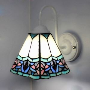 8 Inch Downlight  White Finish Tiffany Wall Lamp with  Petals