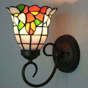 6 Inch Bell Shade Tiffany Wall Light with Colorful Stained Glass