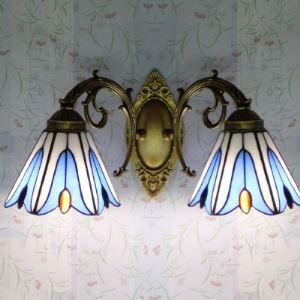 Romantic Tiffany Stained Glass 2 Lights Downward Wall Lamp in Lily Shape