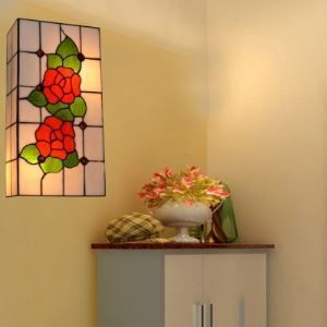 Square Tiffany Wall Washer with Red Rose Pattern Motif