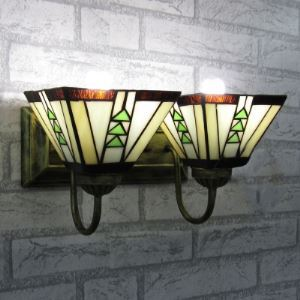 Downlight/Uplight  2 Lights Wall Lamp with Green Triangle Motif in Tiffany Style