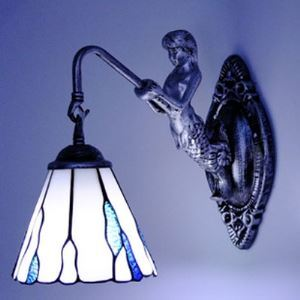 Tiffany Sconce Mermaid Blue Sea Water Pattern Bathroom Fitted Wall Lamp