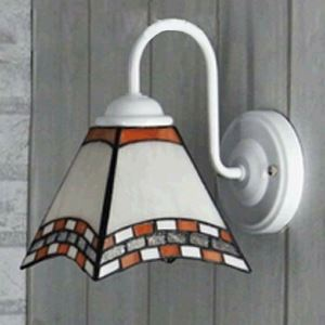 White Finished 6 Inch Mini Wall Sconce in Tiffany Stained Glass Style
