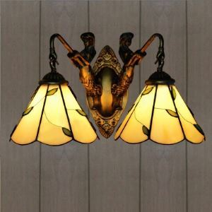 Mermaid Base Green Leaf Motif  Stained Glass 2-light Tiffany Wall Sconce