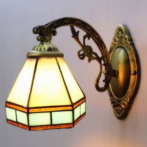 Downward Lighting 5 Inch Mini Wall Sconce in Tiffany Stained Glass Style