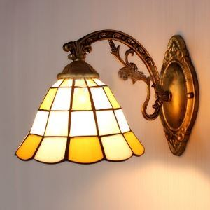 8 Inch Geometric Pattern Yellow Stained Glass Tiffany One-light Wall Scnce