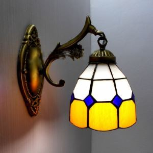 Bronze Base Dowalight Wall Sconce 5 Inch in Tiffany Stained Glass Style
