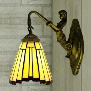 Single Light Mermaid Mini Bathroom Tiffany Style Wall Lamp