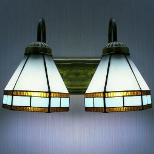 Light Blue Pattern 12 Inch Bathroom Lighting in Tiffany Stained Glass Style