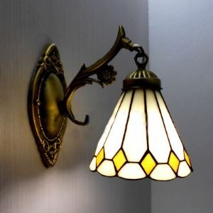 Floral Bronze Finish 6 Inches Wall Sconces Tiffany Bathroom Lighting