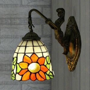 Single Light Sunflower Motif 24 Inch Mermaid Tiffany Sconce