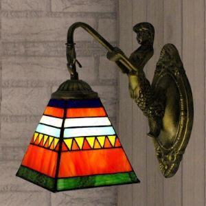 Antique Brass Finish Single Light  Mermaid Striped Tiffany Style Wall Lamp
