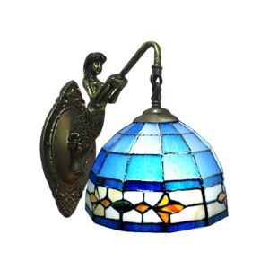 Mermaid Base One Light Wall Sconce in Tiffany Style Mediterranean Lamp
