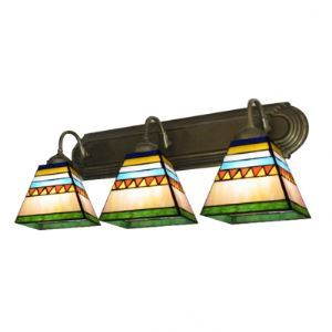 Exotic Tiffany Style Bronze Finish Bathroom Lighting with Three Colorful Shades