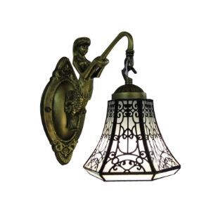 Mermaid-Supported Bronze Finish Bathroom Light Mirror with One Tiffany Bell Shade