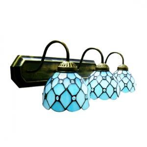 Mediterranean Style Three Light Tiffany Wall Light with Crystal Bead Accent