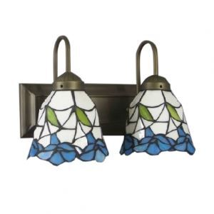 Two Light Floral Pattern 6.5 Inches Width Tiffany Style Wall Sconce