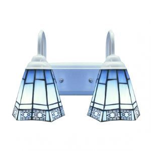 Modern Two Light Mediterranean Style Art Glass Tiffany Wall Sconce