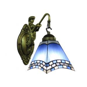 Mermaid-Decorated Bronze Finish Bathroom Light Mirror with One Downward Tiffany Shade