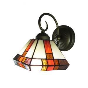 Black Scroll Wrought Iron Wall Light Features Colorful Tiffany Glass Shade
