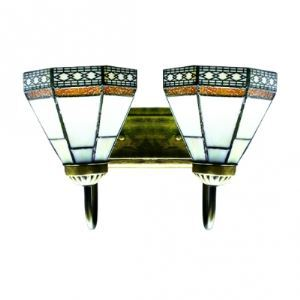 Tiffany Inspired Style Art Glass Wall Sconce with Two Light