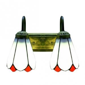 Mediterranean Style Two Light Art Glass Tiffany Designed Wall Sconce