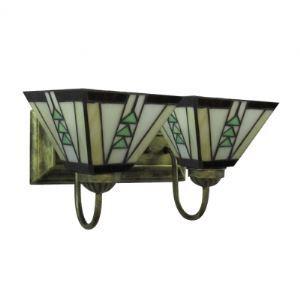 Vintage Tiffany Style Bronze Finish Bathroom Lighting with Two Shades as Bath Bar